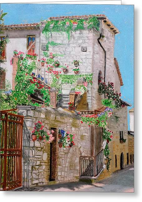 Stone House Pastels Greeting Cards - Assisi Home Greeting Card by John Ruggiero
