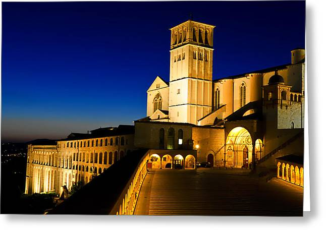 San Francesco Greeting Cards - Assisi Nightfall Greeting Card by Jon Berghoff