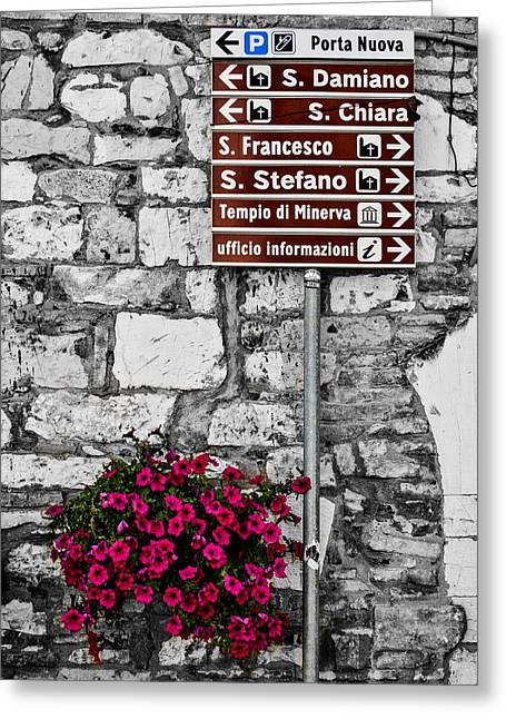 Chiara Greeting Cards - Assisi Greeting Card by Sonny Marcyan