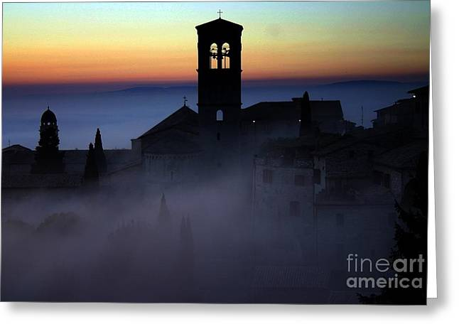 Saint Hope Greeting Cards - Assisi Steeple Sunset Greeting Card by Henry Kowalski