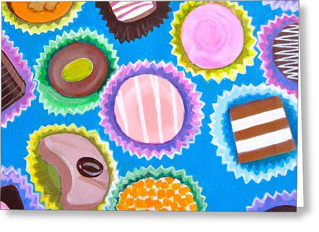 Assorted Paintings Greeting Cards - Assorted Chocolates Greeting Card by Toni Silber-Delerive