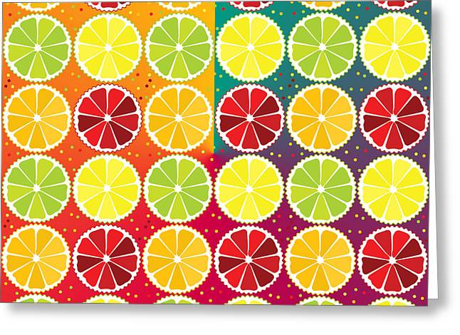 Fresh Food Greeting Cards - Assorted citrus pattern Greeting Card by Gaspar Avila