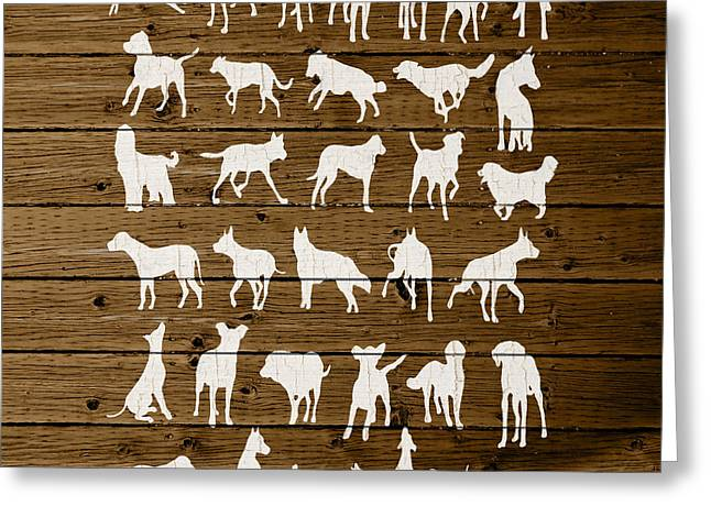 Assorted Mixed Media Greeting Cards - Assorted Dog Species Outline White Distressed Paint On Reclaimed Wood Planks Greeting Card by Design Turnpike