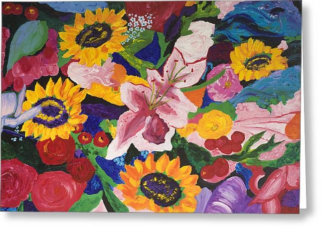 Assorted Paintings Greeting Cards - Assorted Flowers Greeting Card by Megan Morris Collection