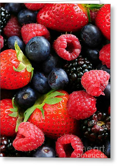 Assorted Photographs Greeting Cards - Assorted fresh berries Greeting Card by Elena Elisseeva