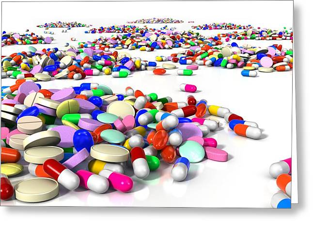 Tablets Greeting Cards - Assorted pills, artwork Greeting Card by Science Photo Library