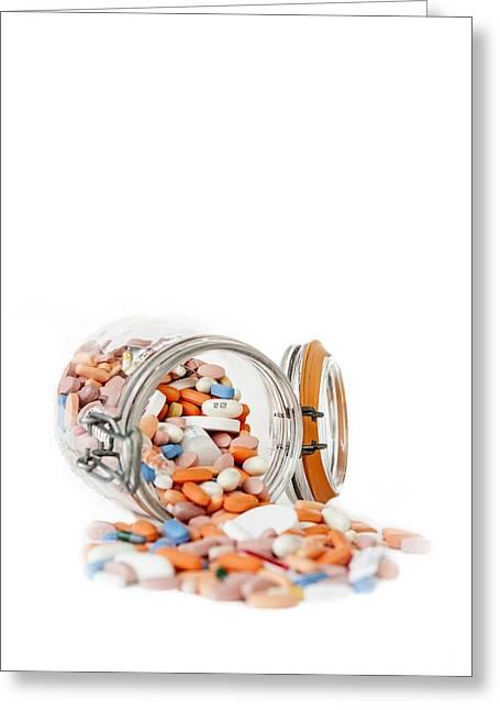 Pill Greeting Cards - Assorted pills in a jar Greeting Card by Science Photo Library