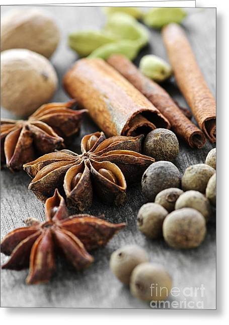 Fragrant Greeting Cards - Assorted spices Greeting Card by Elena Elisseeva