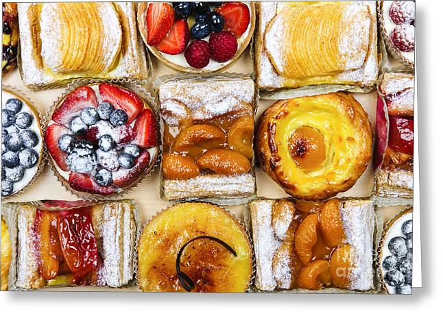 Treat Greeting Cards - Assorted tarts and pastries Greeting Card by Elena Elisseeva