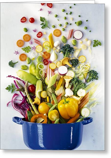 Broccoli Greeting Cards - Assorted vegetables falling into a pot Greeting Card by Science Photo Library