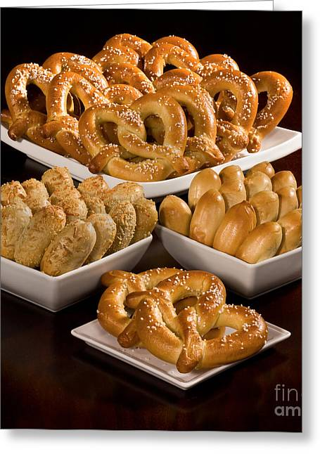 Commercial Photography Greeting Cards - Assortment of Baked Pretzels Greeting Card by Iris Richardson