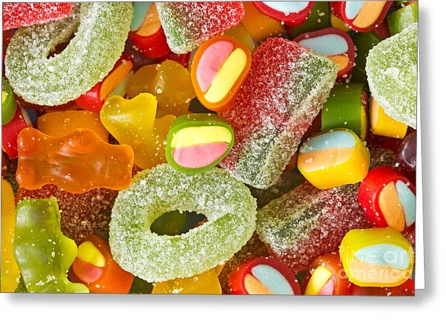 Sweetmeats Greeting Cards - Assortment Of Colorful Jelly Sweets Greeting Card by G J