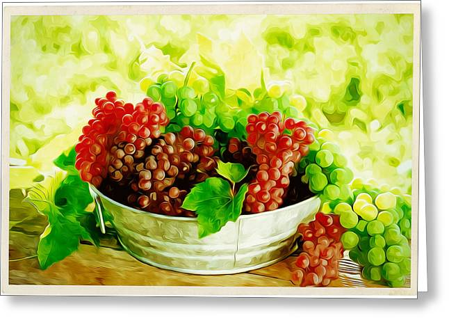 Viticulture Paintings Greeting Cards - Assortment of ripe sweet grapes Greeting Card by Lanjee Chee