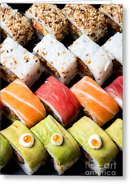 Ethnic Food Greeting Cards - Assortment of Sushi Greeting Card by Ilan Amihai
