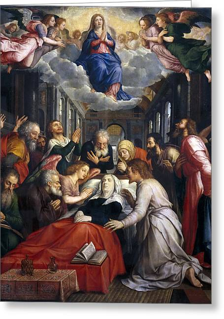 Assumption Greeting Cards - Assumption and Ascension of the Virgin Greeting Card by Michiel Coxcie
