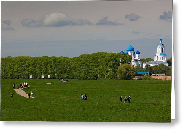 Russian Orthodox Greeting Cards - Assumption Cathedral, Bogolyubovo Greeting Card by Panoramic Images