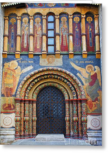 Angel Blues Greeting Cards - Assumption Cathedral entrance Greeting Card by Elena Nosyreva