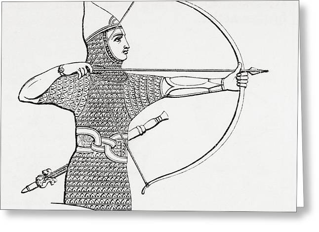 Archer Greeting Cards - Assyrian Archer Wearing A Cuirass.  From The Imperial Bible Dictionary, Published 1889 Greeting Card by Bridgeman Images