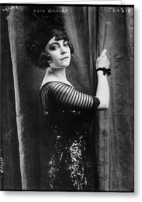 Asta Greeting Cards - Asta Nielsen 1914 Greeting Card by Bain News Service