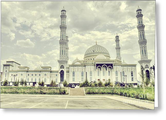 At Work Greeting Cards - Astanas White Mosque Greeting Card by Emily Enz