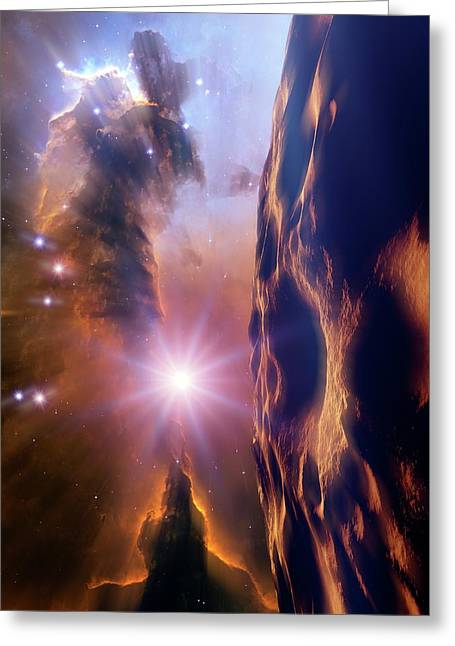Asteroid And Eagle Nebula Greeting Card by Nasa, Esa, And The Hubble Heritage Team Stsci/aura)/detlev Van Ravenswaay