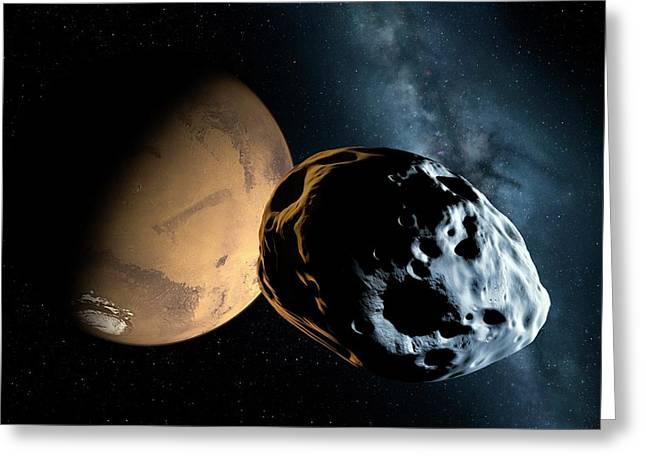 Asteroid Approaching Mars Greeting Card by Detlev Van Ravenswaay