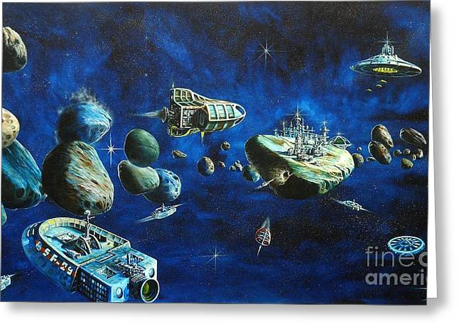 Astros Paintings Greeting Cards - Asteroid City Greeting Card by Murphy Elliott