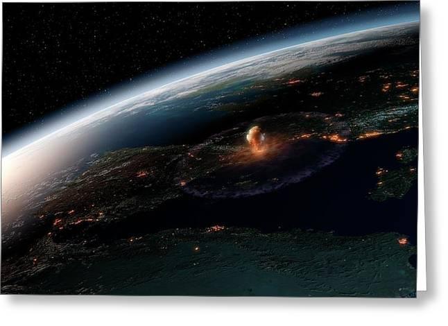 Asteroid Impact In Europe Greeting Card by Joe Tucciarone