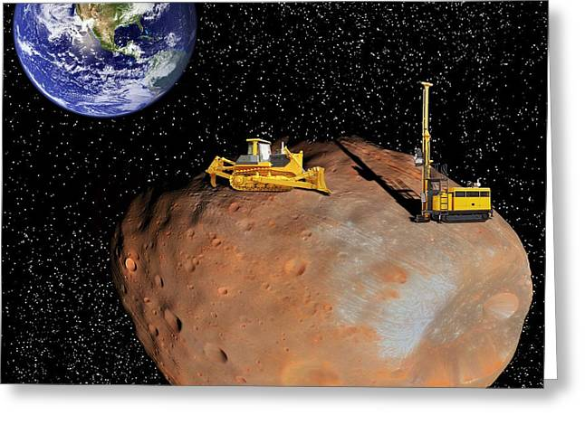 21st Greeting Cards - Asteroid mining, artwork Greeting Card by Science Photo Library