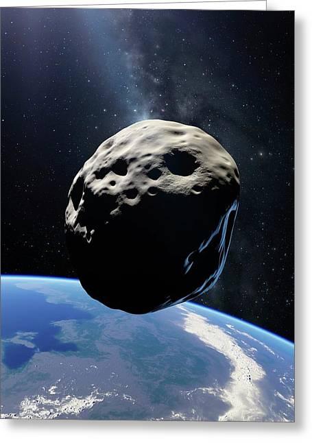 Asteroid Passing Earth Greeting Card by Detlev Van Ravenswaay