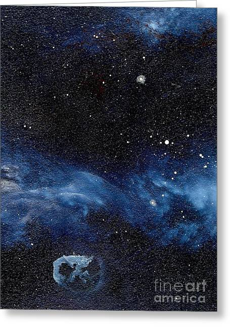 Cosmic Paintings Greeting Cards - Asteroid with Attitude Greeting Card by Murphy Elliott