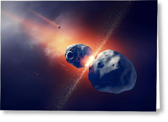 Debris Greeting Cards - Asteroids collide and explode  in space Greeting Card by Johan Swanepoel
