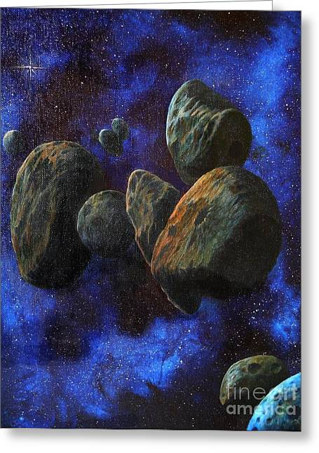Outerspace Greeting Cards - Asteroids Greeting Card by Murphy Elliott