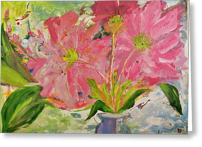 Steal Prints Greeting Cards - Asters in the Vase Greeting Card by Marina R Vladis