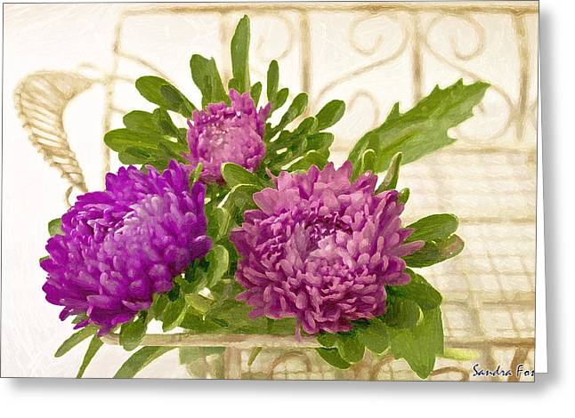 Pinks And Purple Petals Greeting Cards - Asters In Tray - Digital Art Oil Painting Greeting Card by Sandra Foster