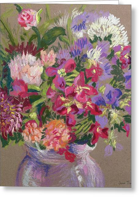 Flower Still Life Greeting Cards - Asters Greeting Card by Joan Thewsey