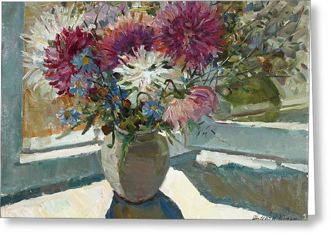 Aster Paintings Greeting Cards - Asters on the window Greeting Card by Juliya Zhukova