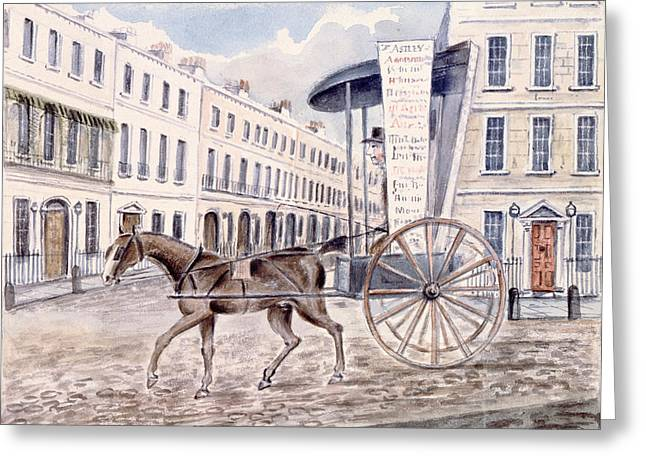 Horse And Cart Greeting Cards - Astleys Advertising Cart Wc On Paper Greeting Card by Thomas Hosmer Shepherd