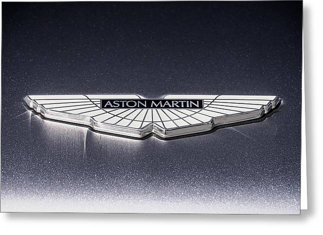 Auto Greeting Cards - Aston Martin Badge Greeting Card by Douglas Pittman