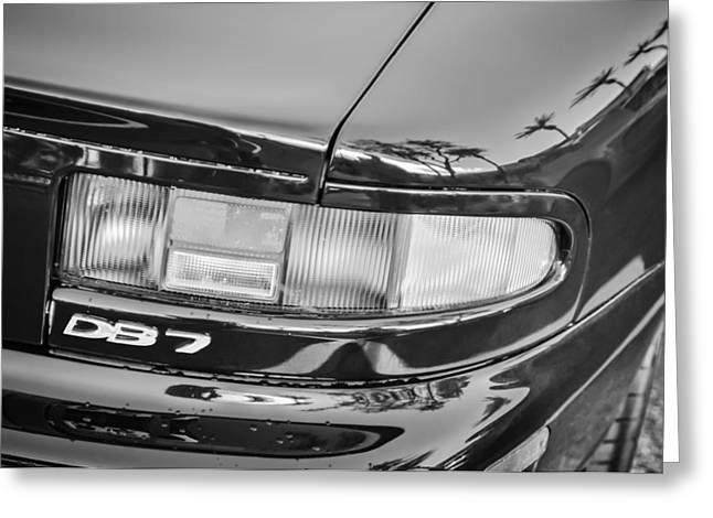 Black 7 White Greeting Cards - Aston Martin DB 7 Taillight Emblem -0042bw Greeting Card by Jill Reger
