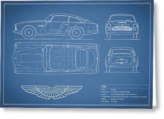 Vintage Car Poster Greeting Cards - Aston Martin DB4 Blueprint Greeting Card by Mark Rogan