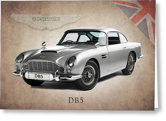 Racing Car Greeting Cards - Aston Martin DB5 Greeting Card by Mark Rogan