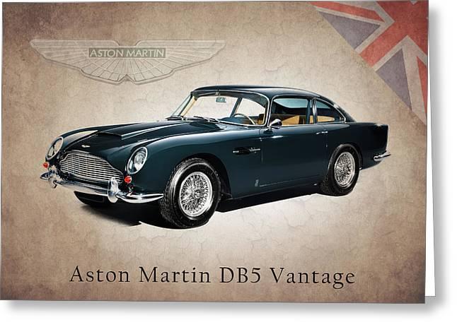 Aston Martin Greeting Cards - Aston Martin DB5 Vantage Greeting Card by Mark Rogan