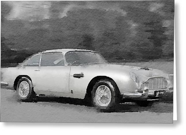 British Classic Cars Greeting Cards - Aston Martin DB5 Watercolor Greeting Card by Naxart Studio