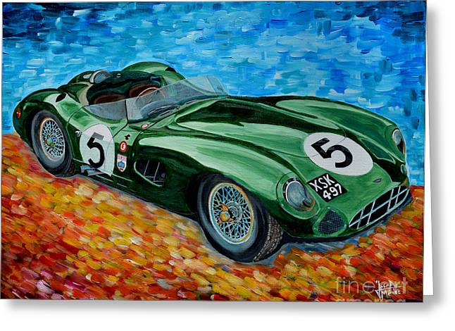 Carroll Shelby Paintings Greeting Cards - Aston Martin DBR1 Greeting Card by Jose Mendez