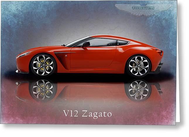 Aston Martin Greeting Cards - Aston Martin V12 Zagato Greeting Card by Mark Rogan