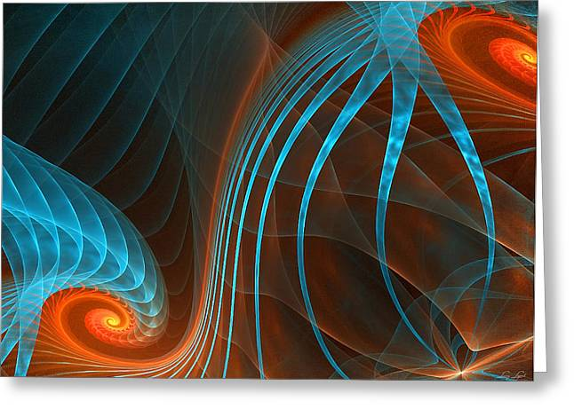 Blue And Orange Abstract Art Greeting Cards - Astonished-Fractal Art Greeting Card by Lourry Legarde