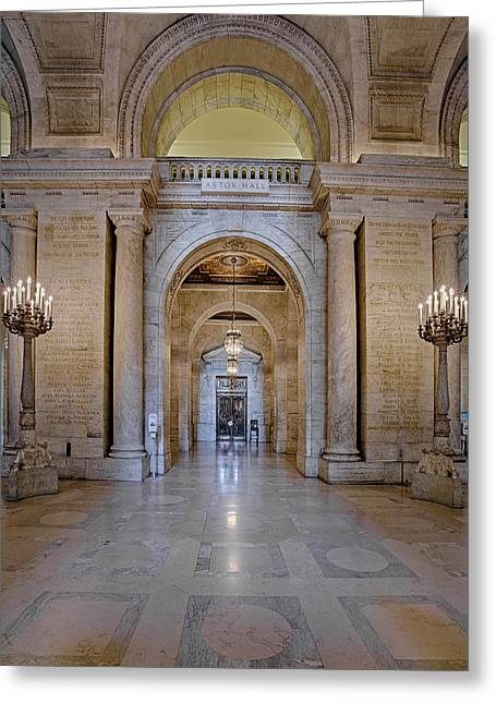 Astor Hall New York Public Library Greeting Card by Susan Candelario