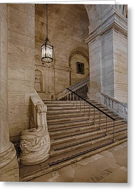 Astor Hall Nypl Greeting Card by Susan Candelario