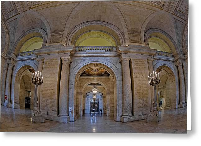 Ny Greeting Cards - Astor Hall Greeting Card by Susan Candelario
